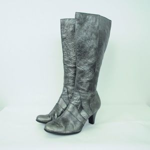 Born Knee High Heeled Boots Silver Leather